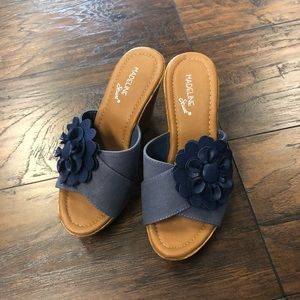 Madeline Stuart Wedge Sandal heels Blue Flower